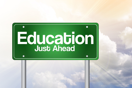 just ahead: Education Just Ahead Green Road Sign concept