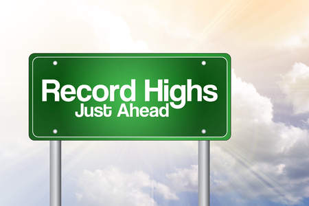 highs: Record Highs Green Road Sign, business concept Stock Photo