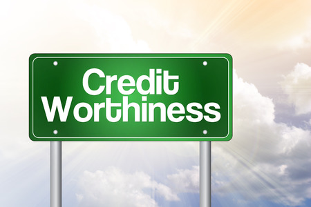 creditworthiness: Credit Worthiness Green Road Sign, Business Concept Stock Photo