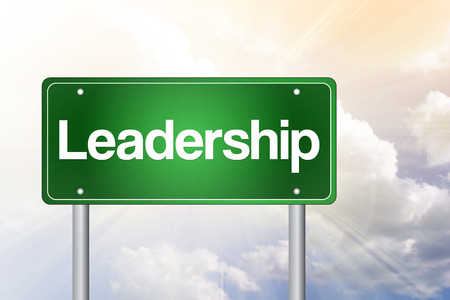 hegemony: Leadership Green Road Sign, business concept