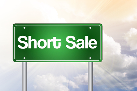 short sale: Short Sale Green Road Sign, business concept Stock Photo