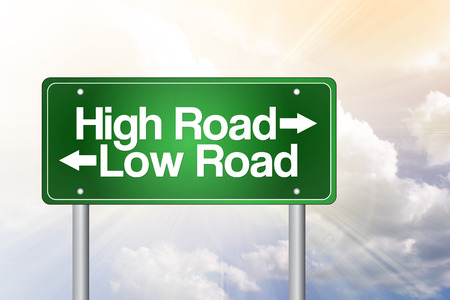 High Road, Low Road Green Road Sign, business concept photo