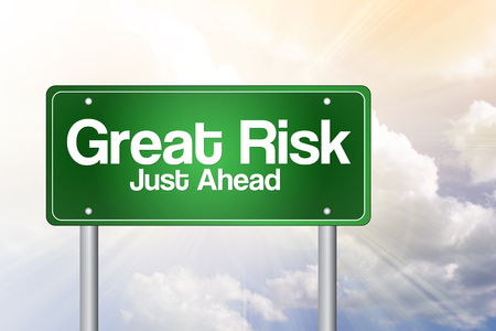 risk ahead: Great Risk Just Ahead Green Road Sign, business concept