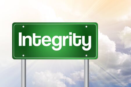 uprightness: Integrity Green Road Sign, business concept