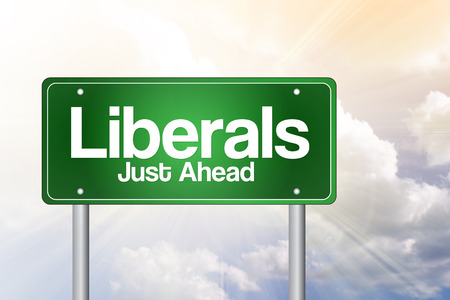 easygoing: Liberals Green Road Sign concept