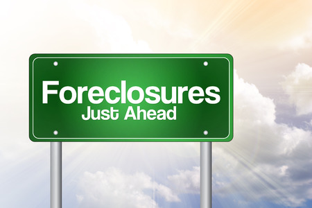 just ahead: Foreclosures Just Ahead Green Road Sign concept Stock Photo