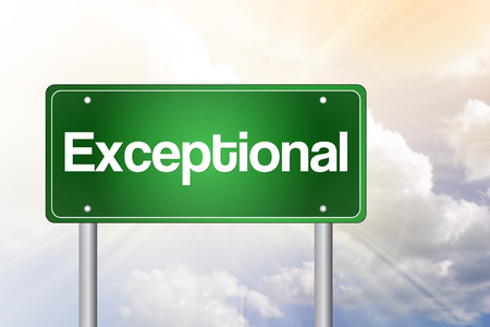 exceptional: Exceptional Green Road Sign, business concept