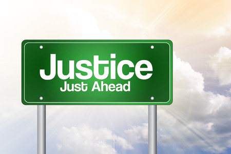 lawfulness: Justice Just Ahead Green Road Sign, business concept