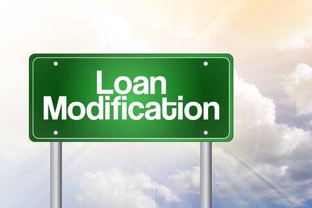 amendment: Loan Modification Green Road Sign, business concept Stock Photo