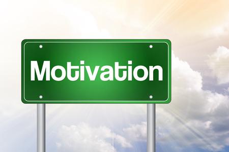 instigation: Motivation Green Road Sign, business concept Stock Photo