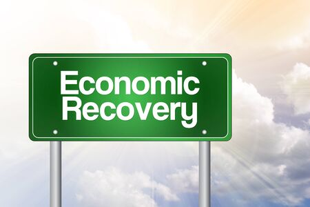 road to recovery: Economic Recovery Green Road Sign, Business Concept Stock Photo