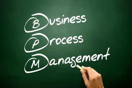 bpm: Hand drawn Business Process Management ( BPM ) concept, business strategy on blackboard