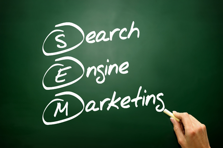 adwords: Hand drawn Search Engine Marketing (SEM) concept, business strategy on blackboard