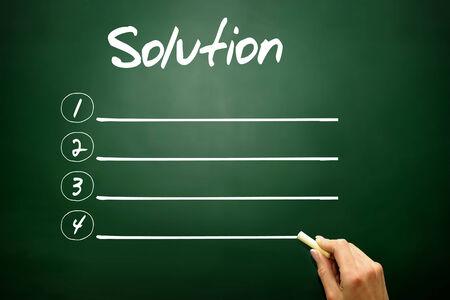 describes: Hand drawn Solution blank list concept on blackboard