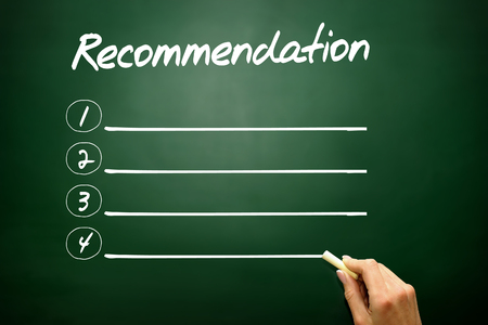 recommendation: Hand drawn Recommendation blank list concept on blackboard