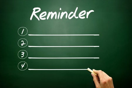 implication: Hand drawn blank Reminder list business concept on blackboard