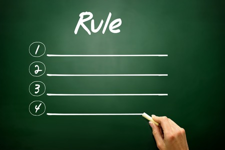 normative: Hand drawn Blank Rule list concept on blackboard Stock Photo