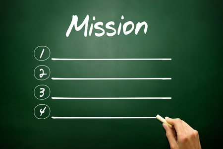 Hand drawn MISSION blank list concept on blackboard photo