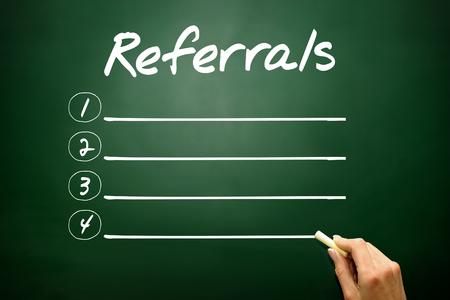 referrals: Hand drawn REFERRALS blank list concept on blackboard Stock Photo