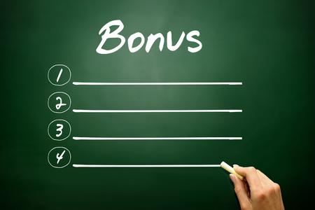 additional compensation: Hand drawn BONUS blank list concept on blackboard Stock Photo