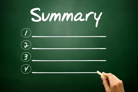 summary: Hand drawn SUMMARY blank list, business concept