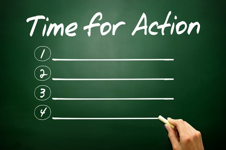 activist: Hand drawn Time for Action blank list, business concept