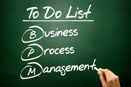 bpm: Hand drawn Business process management (BPM) in To Do List, concept