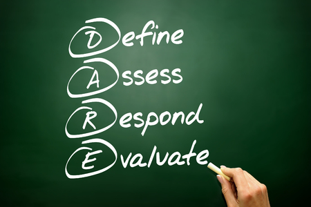 define: Hand drawn Define Assess Respond Evaluate (DARE), business Stock Photo
