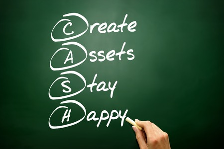 cash flow statement: Hand drawn Create Assets Stay Happy (CASH), business concept Stock Photo