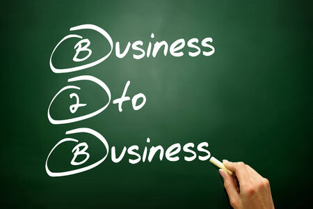 b2b: Hand drawn Business To Business (B2B), business concept Stock Photo