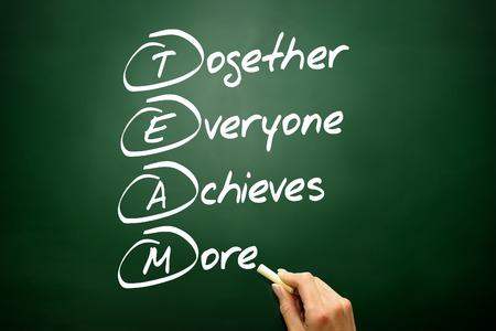 communicative: Hand drawn Together Everyone Achieves More (TEAM) acronym, business concept