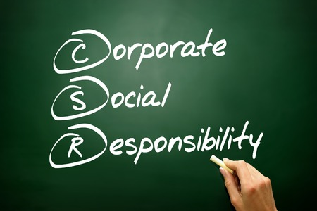 csr: Hand drawn Corporate Social Responsibility (CSR), business concept acronym
