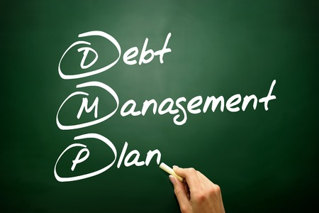 debt management: Hand drawn Debt Management Plan (DMP), business concept acronym Stock Photo