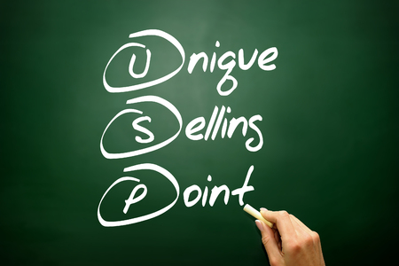 usp: Hand drawn Unique Selling Point (USP), business concept acronym on blackboard Stock Photo