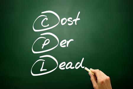 cpl: Hand drawn Cost Per Lead (CPL), business concept acronym on blackboard Stock Photo