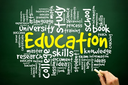 extramural: Hand drawn Word cloud of EDUCATION related items, business concept on blackboard