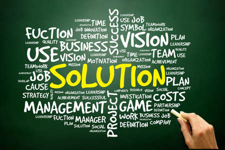Hand drawn Word cloud of SOLUTION related items, business concept on blackboard photo