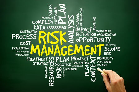 avoidance: Hand drawn Word cloud of RISK MANAGEMENT related items, business concept on blackboard