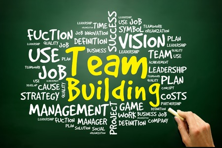 Hand drawn Word cloud of Team Building related items, business concept on blackboard photo