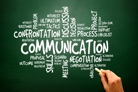 commerce communication: Communication business concept words cloud on blackboard, presentation background