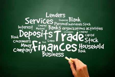 retailing: Trade, Finances Word collage on blackboard, presentation background