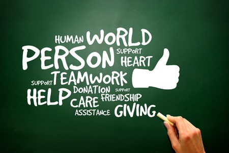 charity: Charity and Help concept on blackboard, presentation background Stock Photo