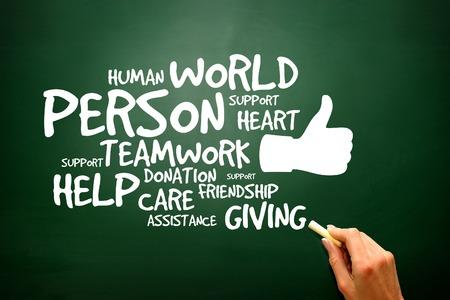 Liefdadigheid en Help concept op het bord, presentatie achtergrond Stockfoto