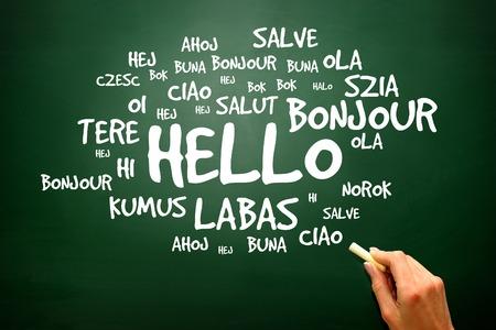 escuela caricatura: Hola Palabra en diferentes idiomas en la pizarra, presentación de antecedentes