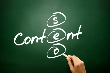 Content SEO concept, business strategy on blackboard photo