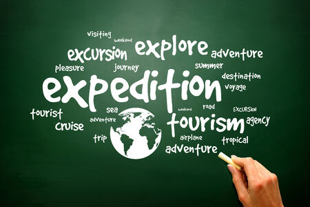 Travel info-text graphics concept word cloud on blackboard, presentation background photo