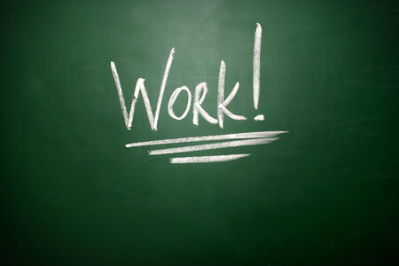 Work writing, written with Chalk on Blackboard photo