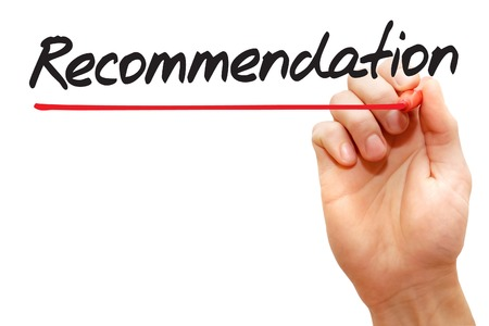 recommendation: Hand writing Recommendation with red marker, business concept Stock Photo