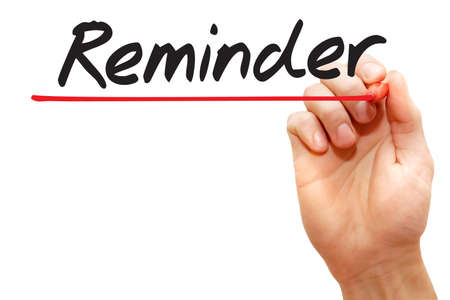 implication: Hand writing Reminder with red marker, business concept Stock Photo