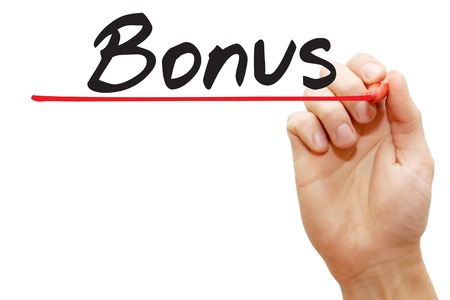 additional compensation: Hand writing Bonus with red marker, business concept Stock Photo